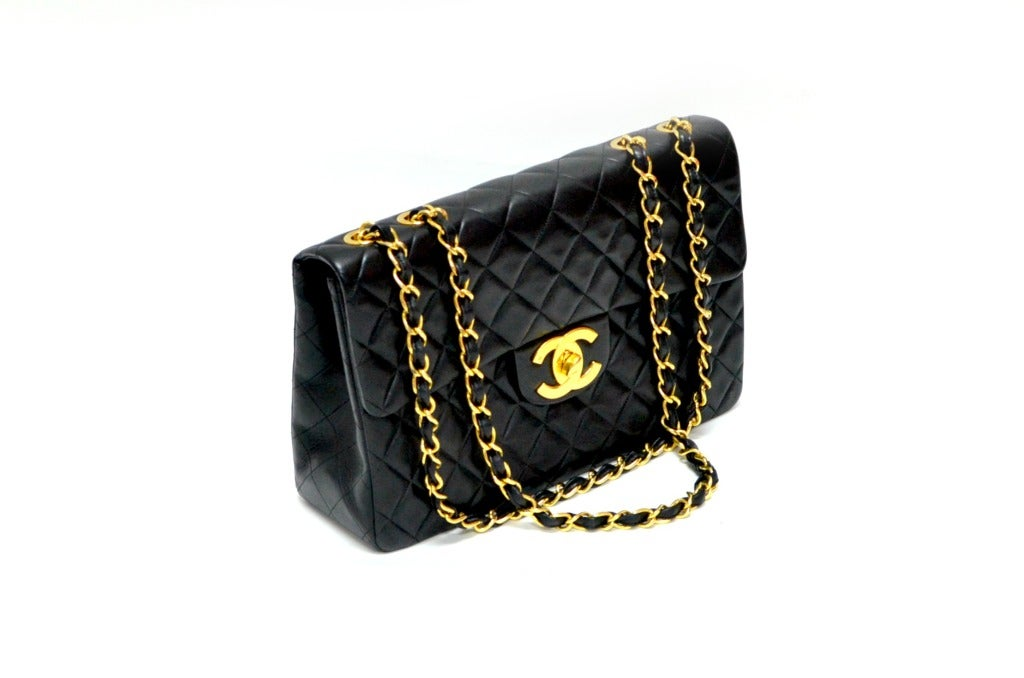 Black Chanel Jumbo Flap Shoulder Bag 2