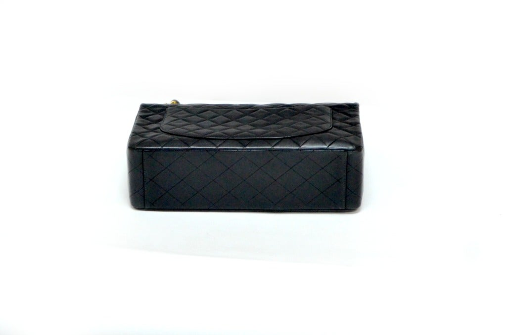 Black Chanel Jumbo Flap Shoulder Bag 4