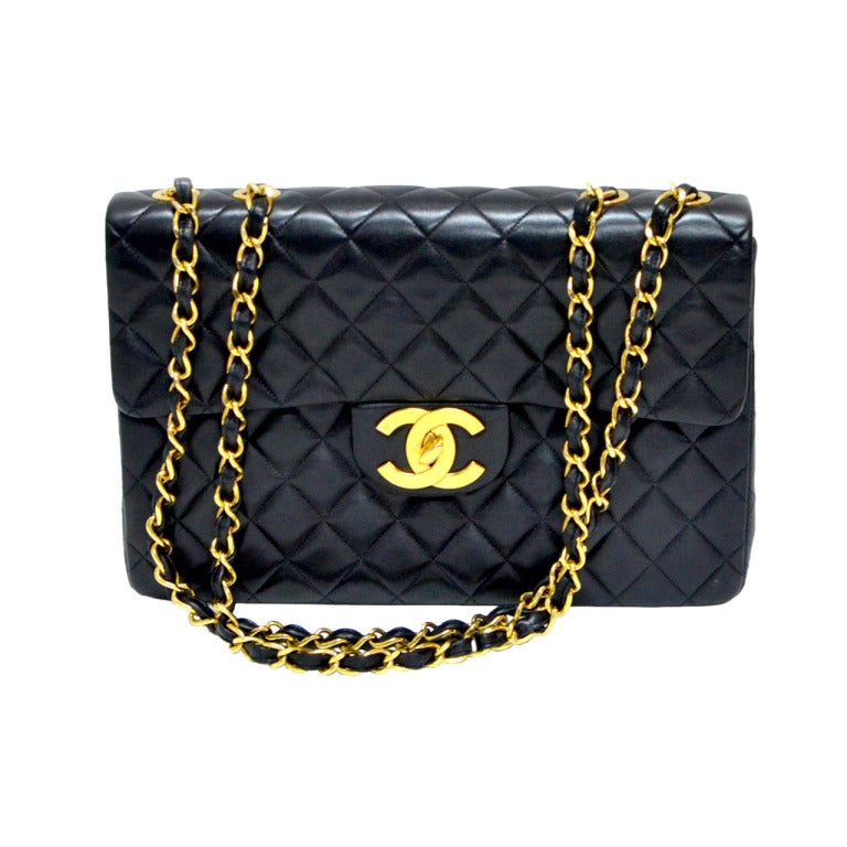 Black Chanel Jumbo Flap Shoulder Bag 1