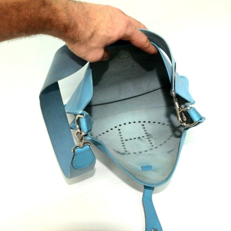 hermes leather goods - Hermes Evelyne PM Blue Jean at 1stdibs