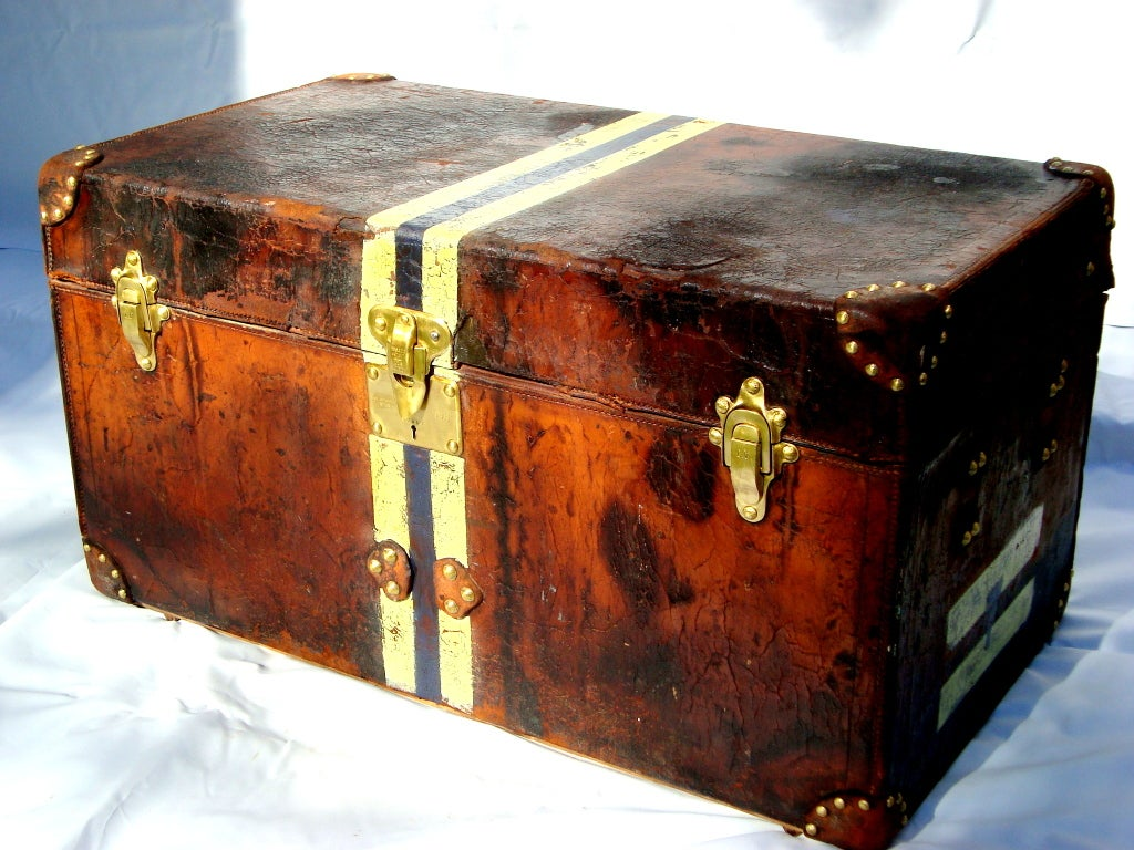 Antique Louis Vuitton Calf Leather Trunk Coffee Table from 1892 at