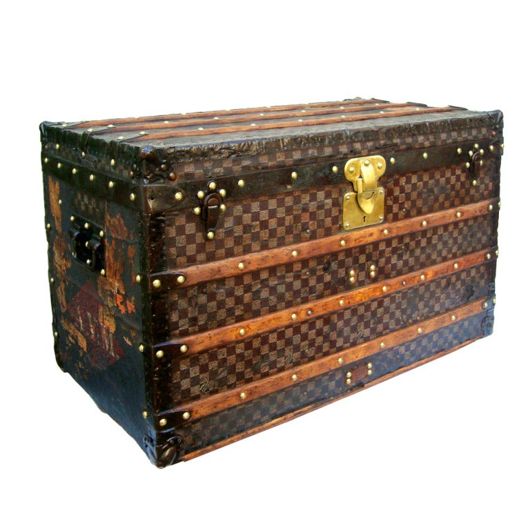 Louis Vuitton Rare Red/white Damier Steamer Trunk From