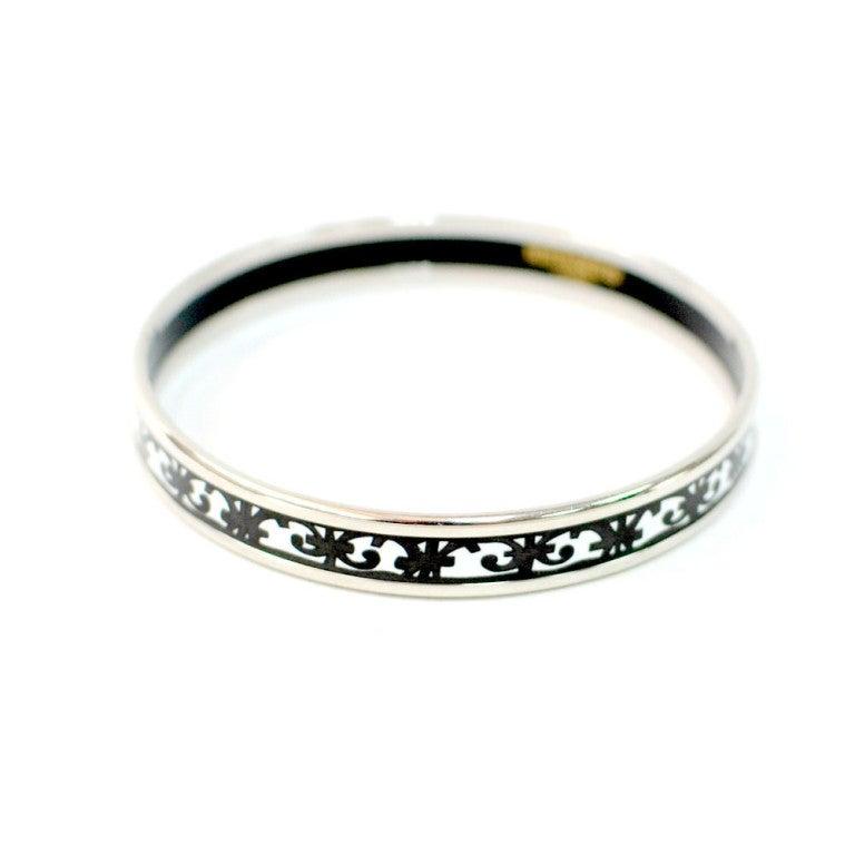 hermes black and white enamel bracelet small at 1stdibs