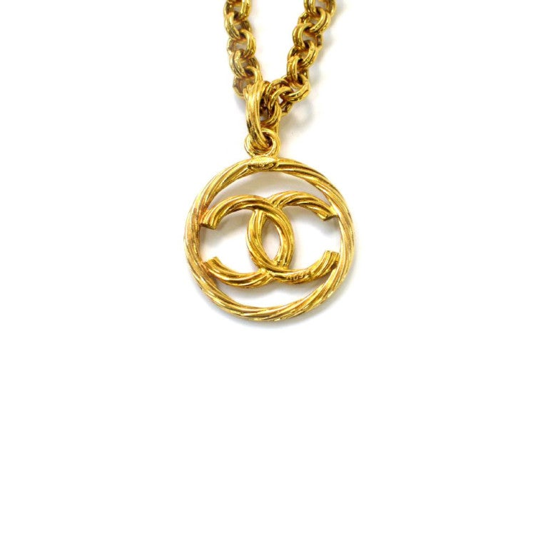 Chanel vintage necklaces : Vintage chanel circle logo necklace at stdibs