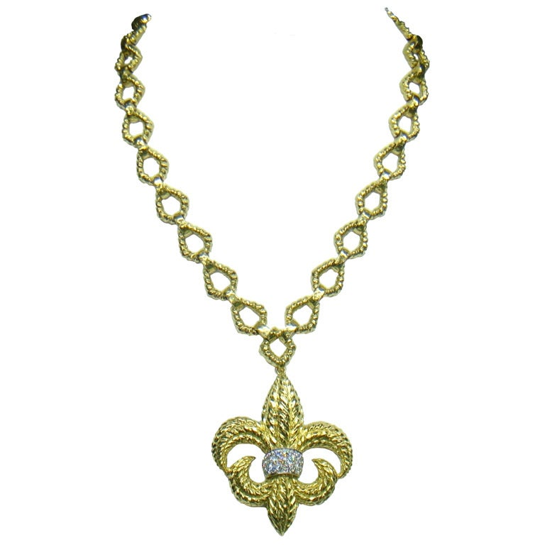 David Webb Gold Diamond Fleur De Lys Pendant Chain