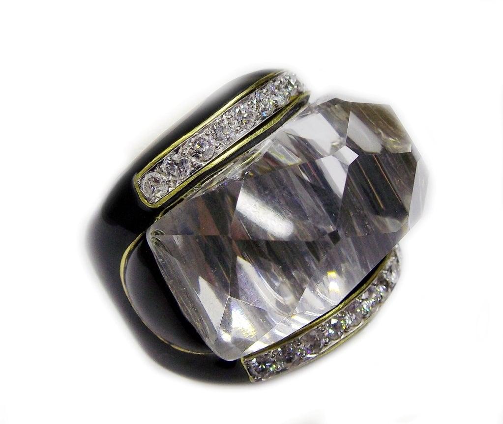 david webb enamel gold platinum dome ring
