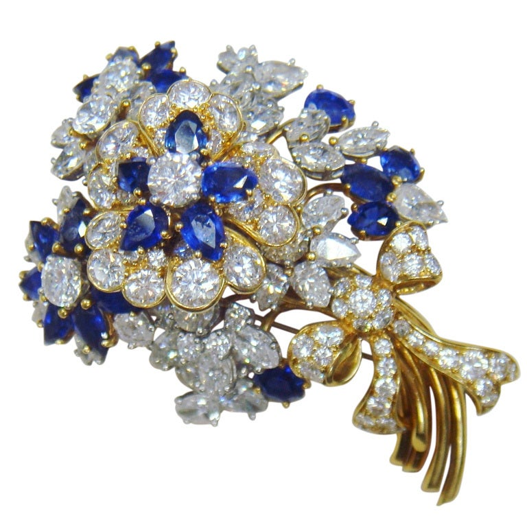 Tiffany And Co Yellow Gold Sapphire Diamond Flower Brooch