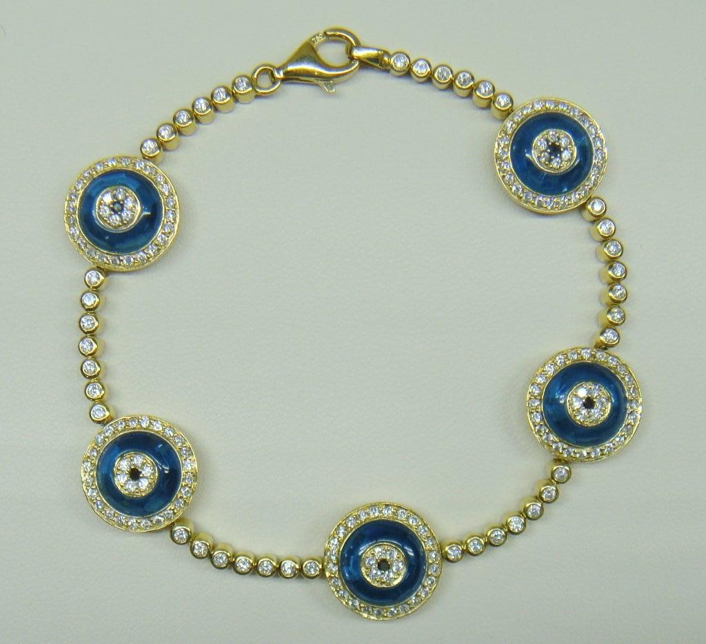 Lorraine Schwartz Yellow Gold Evil Eye Diamond Link