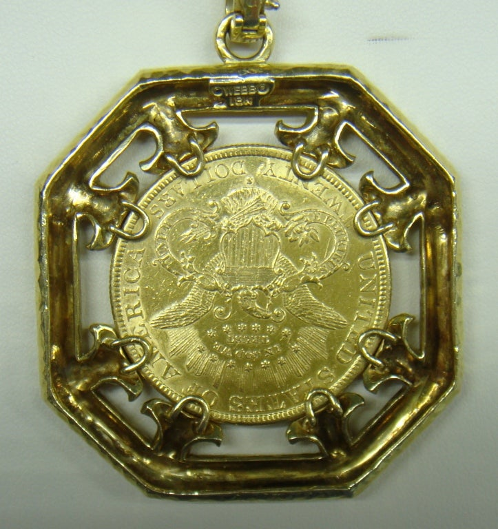 david webb gold chain necklace liberty coin