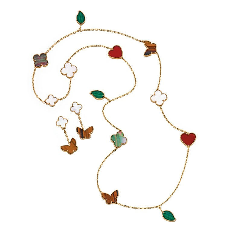 """Van Cleef Lucky Alhambra Necklace: VAN CLEEF And ARPELS VCA """"Lucky Alhambra"""" Hardstone Gold"""