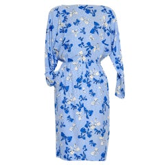 YVES SAINT LAURENT  Bleu Silk Bow Dress