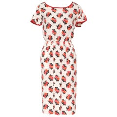 YVES ST LAURENT Vintage Silk Red Roses Print Dress