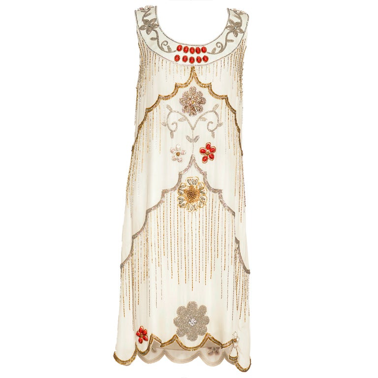 Early MATTHEW WILLIAMSON silk embellished Gatsby dress For Sale