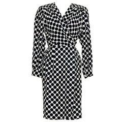 YVES ST LAURENT Vintage 80's Silk Envelope Dress
