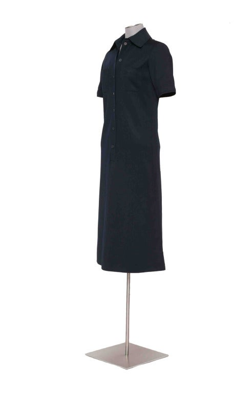 Vintage 60's YVES ST LAURENT Navy Blue Shirtdress 4