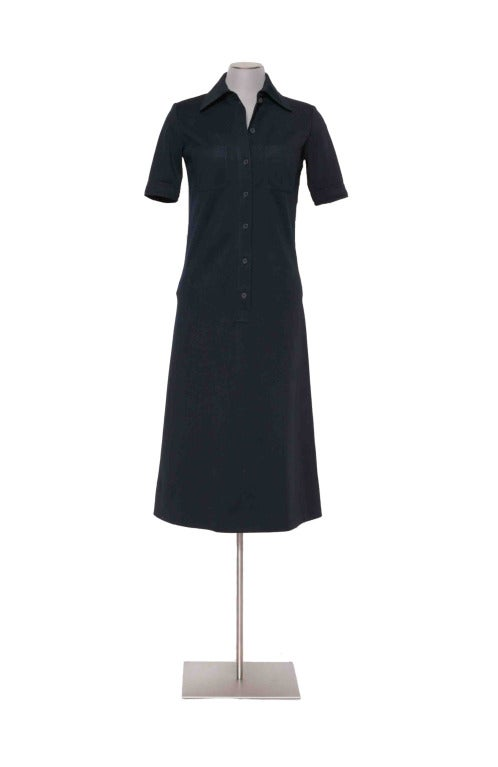Vintage 60's YVES ST LAURENT Navy Blue Shirtdress 3