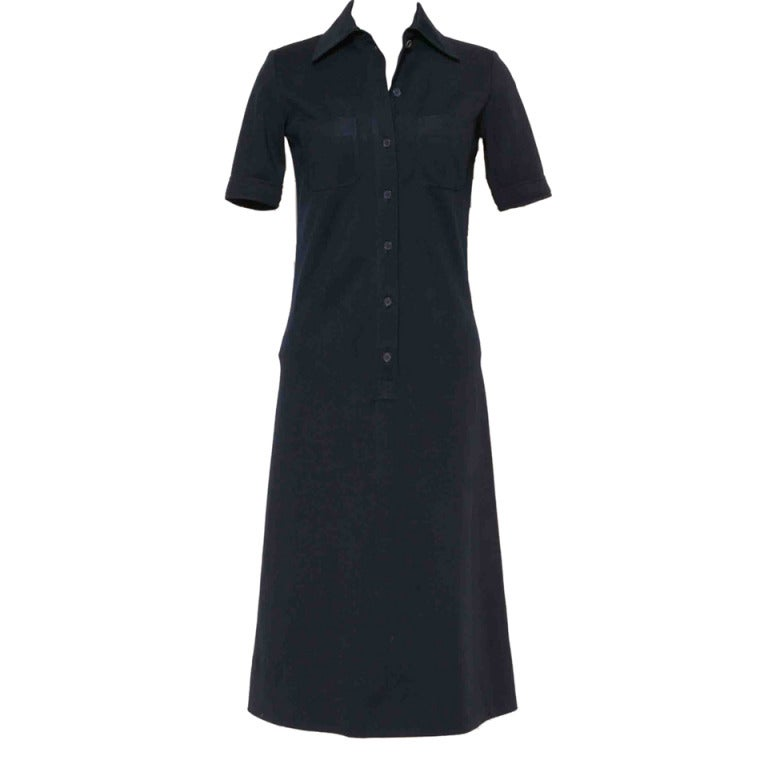 Vintage 60's YVES ST LAURENT Navy Blue Shirtdress image 2