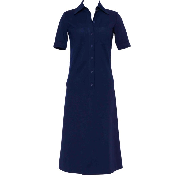 Vintage 60's YVES ST LAURENT Navy Blue Shirtdress