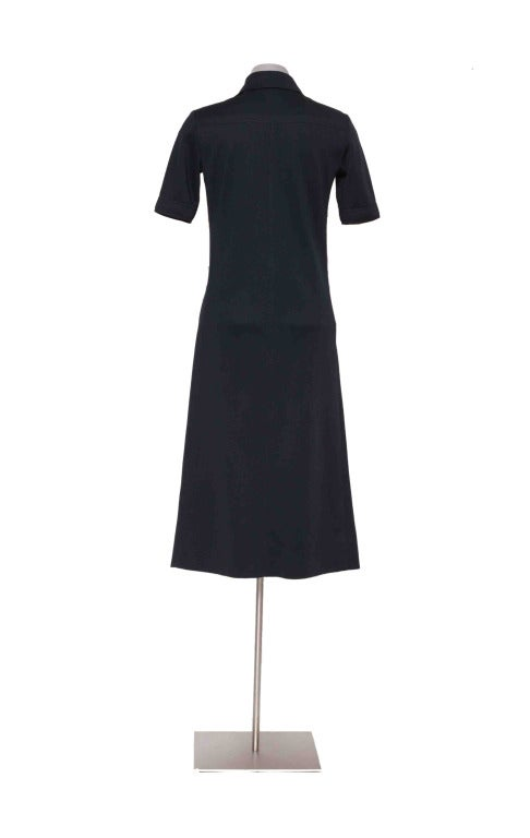 Vintage 60's YVES ST LAURENT Navy Blue Shirtdress 6