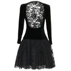 80's TED LAPIDUS Lace / Velvet Black Dress