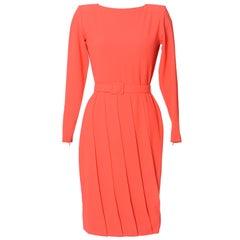 Lanvin vintage 1980s pleated crepe dress