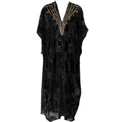 Vintage THEA PORTER Couture Black Embroidered Cut-Velvet Caftan