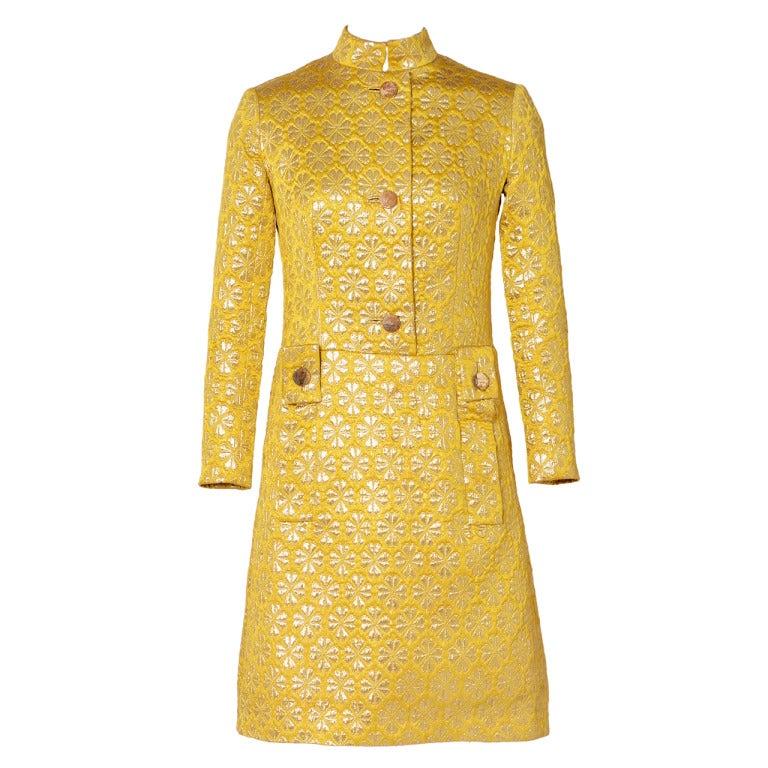 60's MISS DIOR gold brocade dress 1