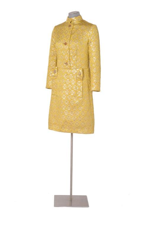60's MISS DIOR gold brocade dress 2