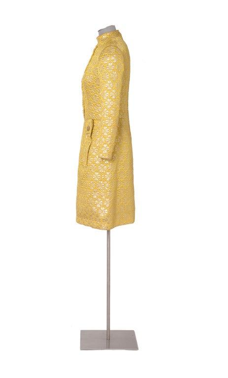 60's MISS DIOR gold brocade dress 3