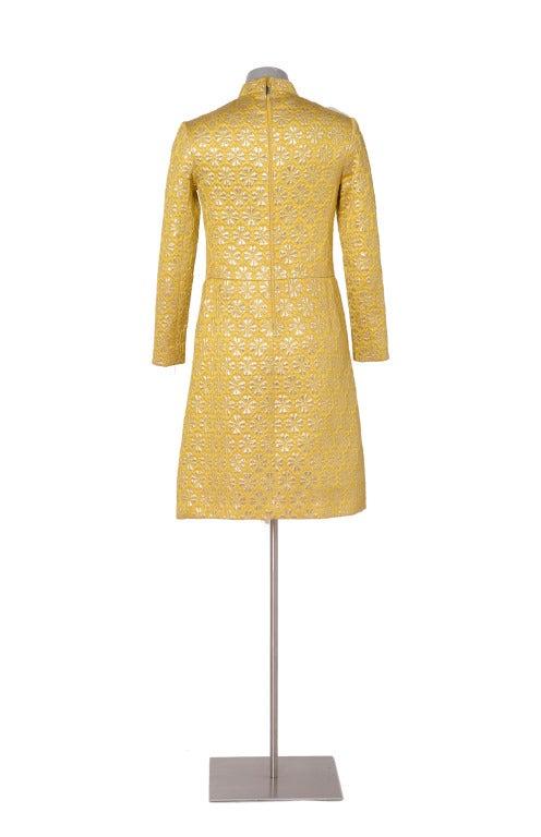 60's MISS DIOR gold brocade dress 4