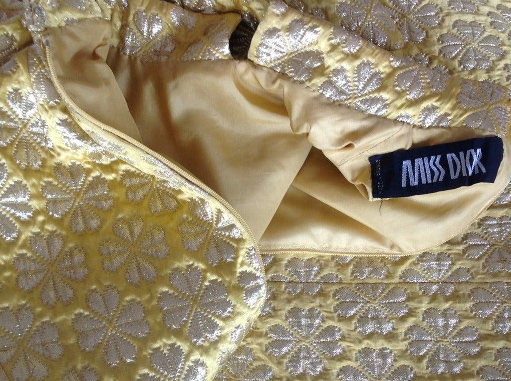 60's MISS DIOR gold brocade dress 5