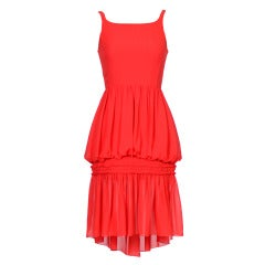 CHANEL by Karl Lagerfeld Vintage 90's Scarlet Chiffon Dress