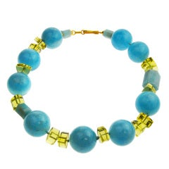 Aquamarine and Citrine Ball Necklace. Designed by Abigail Sands