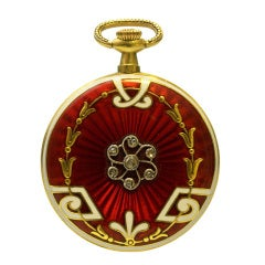 Yellow Gold, Enamel and Diamond Pendant Watch