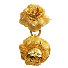 Gold Rose-Form Pendant Watch with Matching Brooch