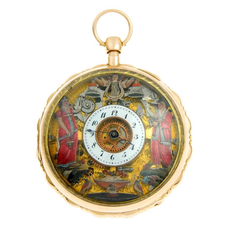 Gold Quarter Repeating Jacquemart Automaton Pocket Watch