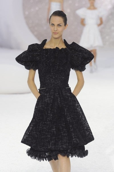 CHANEL 2012 Runway dress RARE textured tulle puff sleeve 38 NEW 6