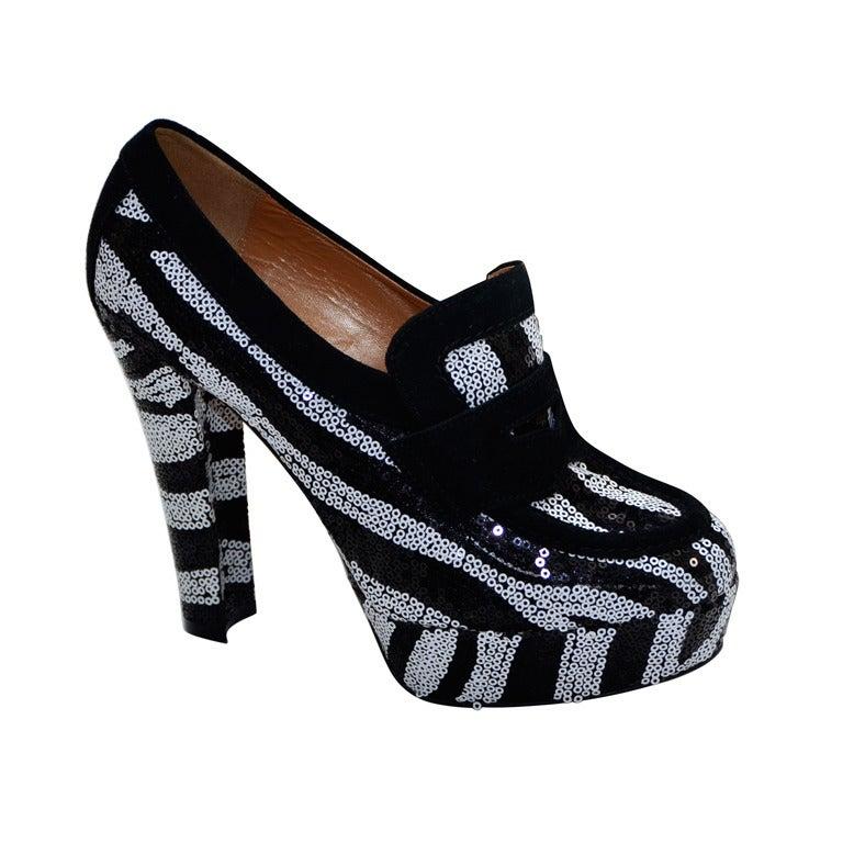 viktor and rolf zebra tuxedo black white sequince shoes at