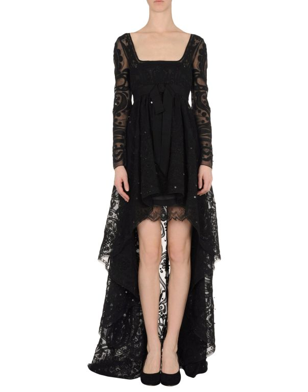 Emilio Pucci Black Lace Dress With Sheer Sleeves and  Embroidery 3