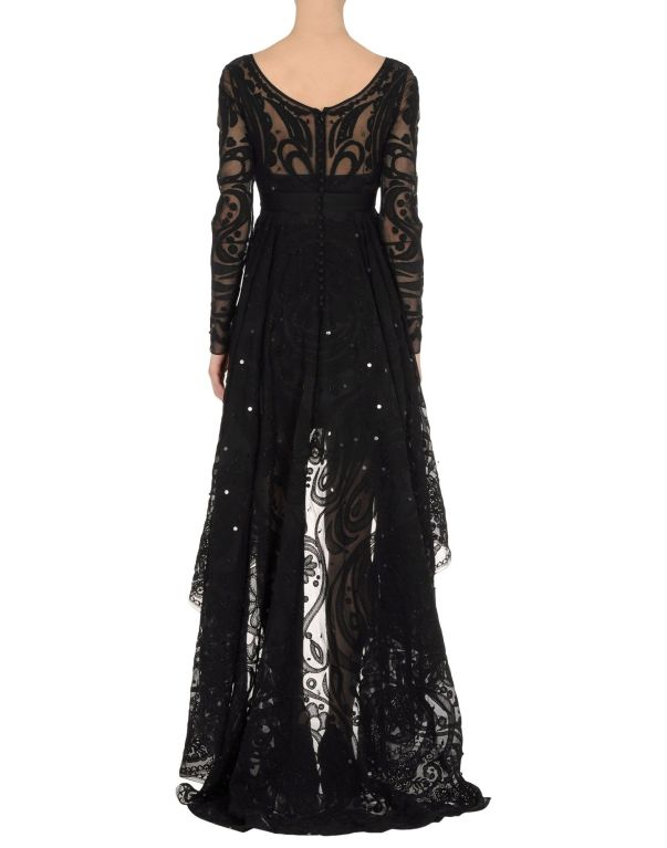 Emilio Pucci Black Lace Dress With Sheer Sleeves and  Embroidery 4