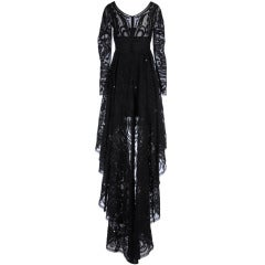 Emilio Pucci Black Lace Dress With Sheer Sleeves and  Embroidery