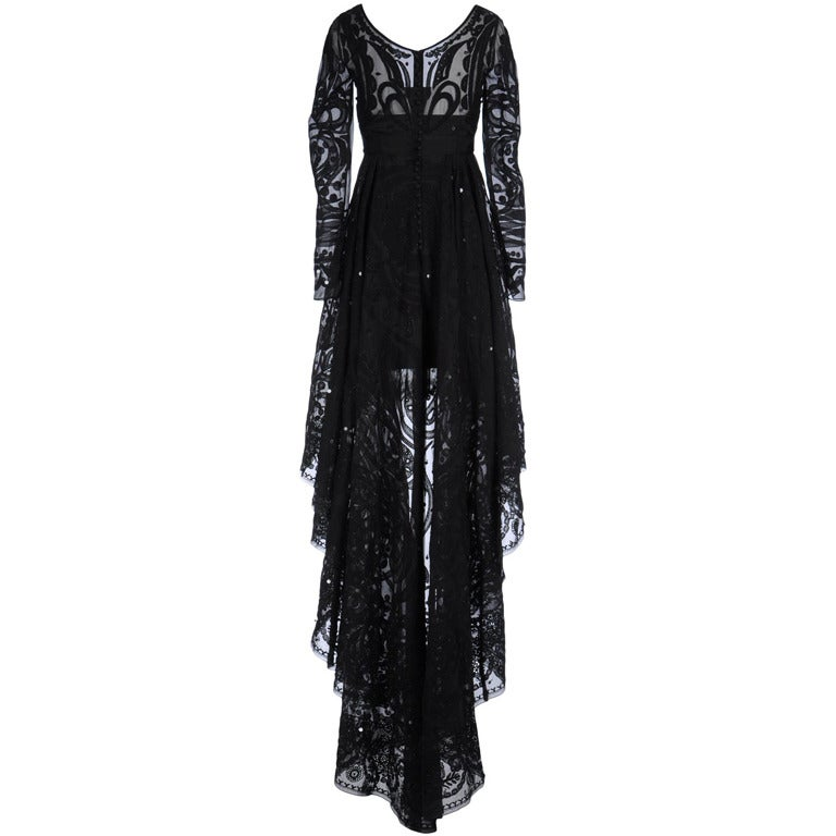 Emilio Pucci Black Lace Dress With Sheer Sleeves and  Embroidery 1
