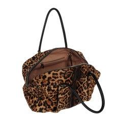 Azzedine Alaia Large Size Leopard print Pony Skin Leather Handbag