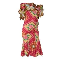 John Galliano Runway  Silk Chiffon Dress  Fur Trim