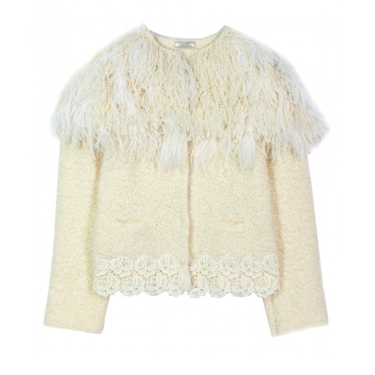 Nina Ricci Jacket Nwt Ostrich Feather Collar Knit Size M