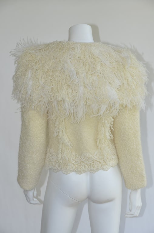 Beige Nina Ricci Jacket Nwt Ostrich Feather Collar Knit Size M For Sale