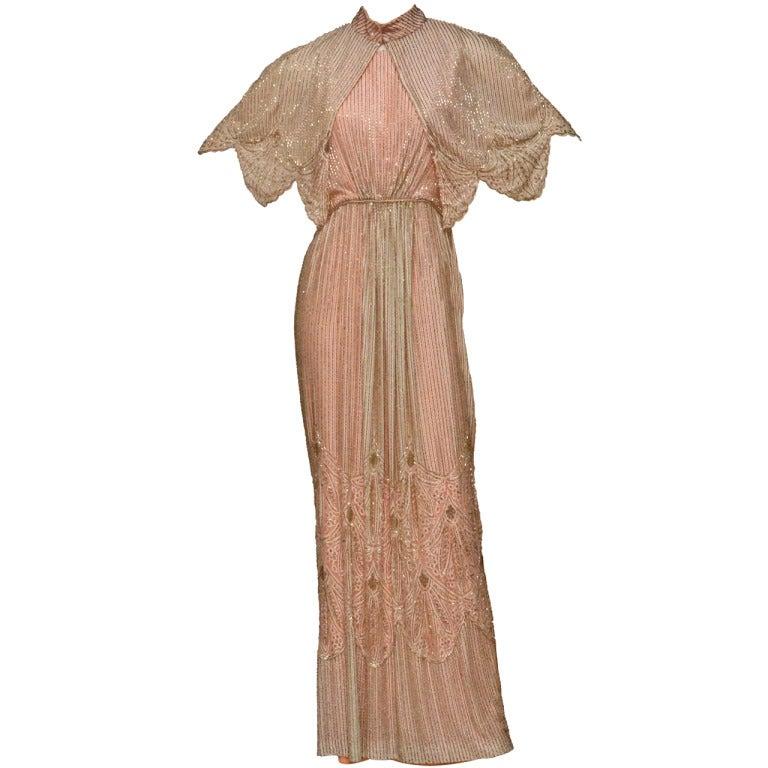 alfred bosand silk beaded dress with matching bolero