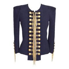BALMAIN jacket silk blend Military tweed chains 40FR / 6US NWT