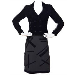 Chanel  Three Piece Velvet Suit  Exquisite '98 Size 36