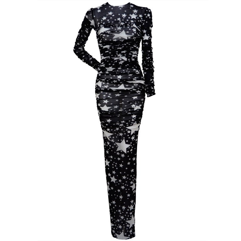 Dolce And Gabbana Star Print Sexy Tulle Sheer Dress New At